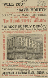 Advert for the Direct Supply Depot, men's clothing store
